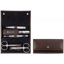 Zestaw do manicure Classic Inox® – brązowe, skórzane etui, 5 elementów
