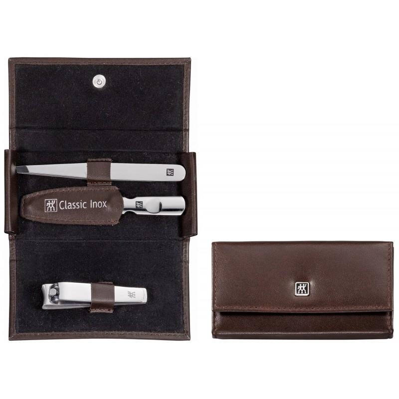 Zestaw podróżny Classic Inox® – brązowe, skórzane etui, 3 elementy