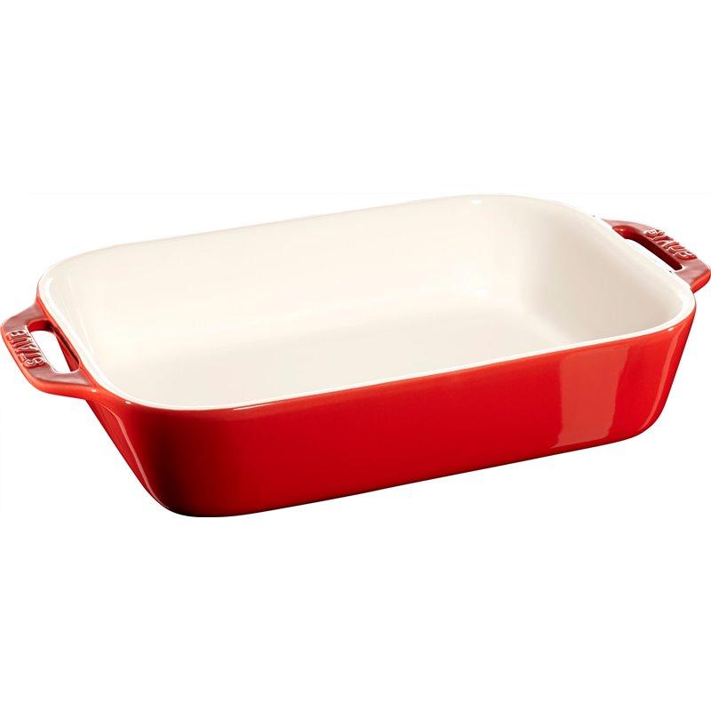 Prostokątny półmisek ceramiczny Staub - czerwony