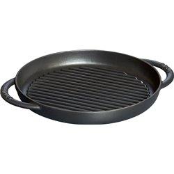 Okrągła patelnia żeliwna grillowa Staub z dwoma uchwytami - czarna