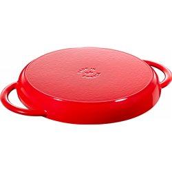 Okrągła patelnia żeliwna grillowa Staub z dwoma uchwytami - czerwona (dno)