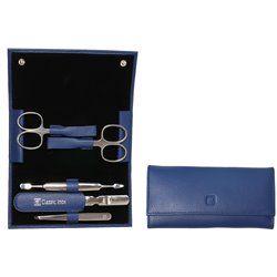 Zestaw podróżny Zwilling Classic Inox –  niebieskie skórzane etui, 5 elementów