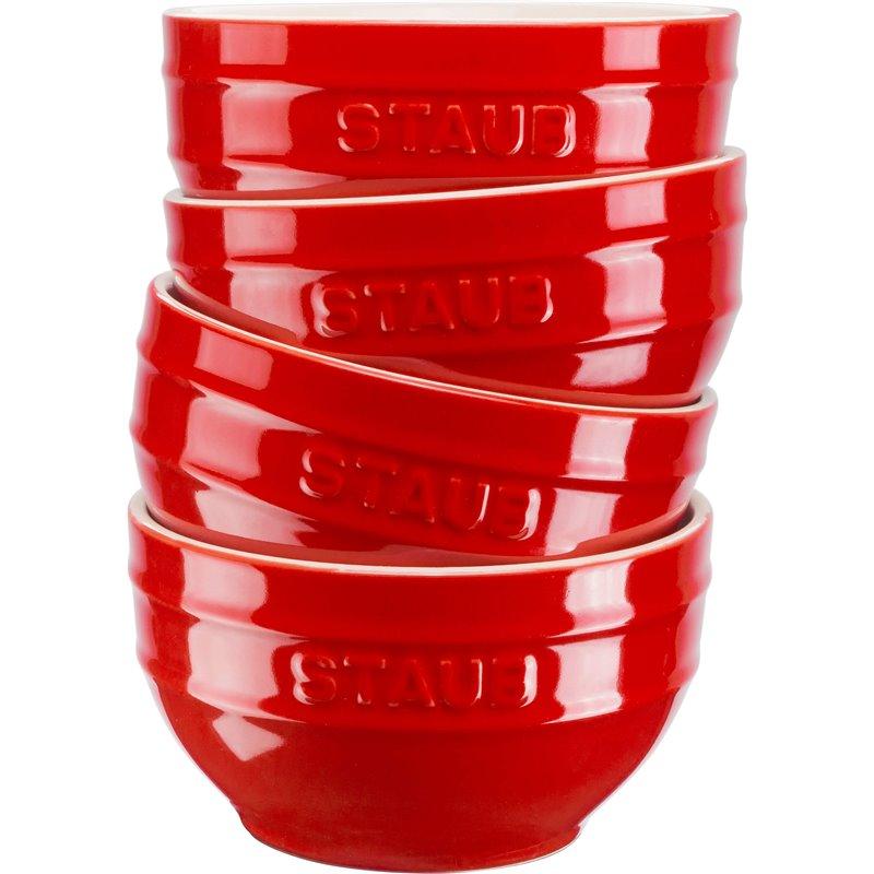 Zestaw 4 misek okrągłych Staub - czerwony