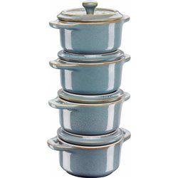 Staub Mini Cocotte Okrągły, 4 szt. - antyczny turkusowy