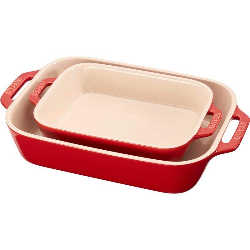 Zestaw 2 prostokątnych półmisków ceramicznych Staub - czerwony