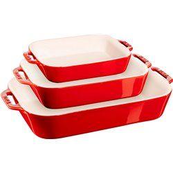 Zestaw 3 prostokątnych półmisków ceramicznych Staub - czerwony
