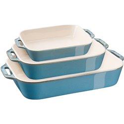 Zestaw 3 prostokątnych półmisków ceramicznych Staub - antyczny turkusowy