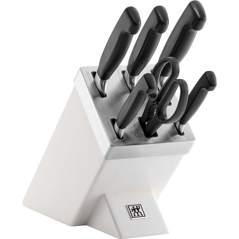Zestaw 5 noży w bloku samoostrzącym Zwilling Four Star - biały