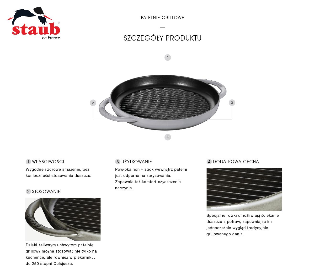 Dlaczego warto kupić okrągłą patelnię żeliwną grillową Staub z dwoma uchwytami?
