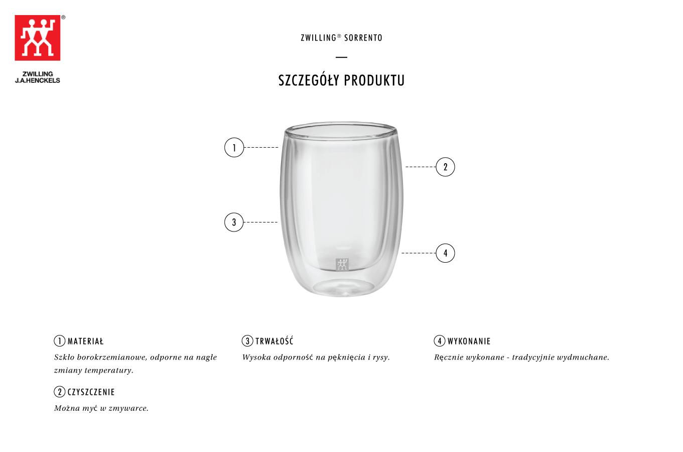 Dlaczego warto zestaw dwóch szklanek do kawy Zwilling Sorrento?