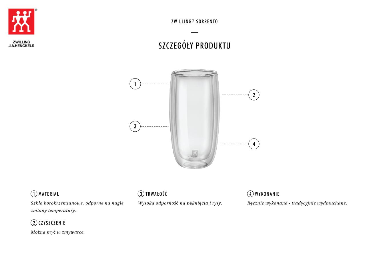 Dlaczego warto zestaw dwóch szklanek wysokich Zwilling Sorrento?