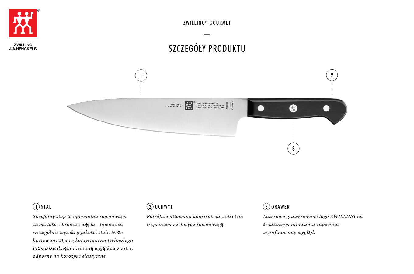 Dlaczego warto kupić nóż szefa kuchni Zwilling® Gourmet?
