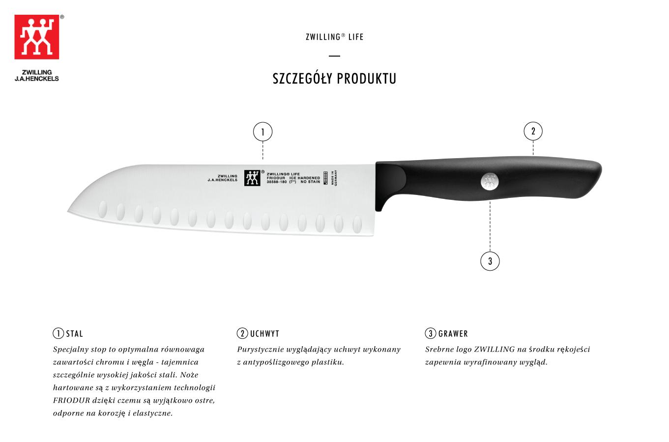 Dlaczego warto kupić nóż Santoku z rowkami Zwilling Life?
