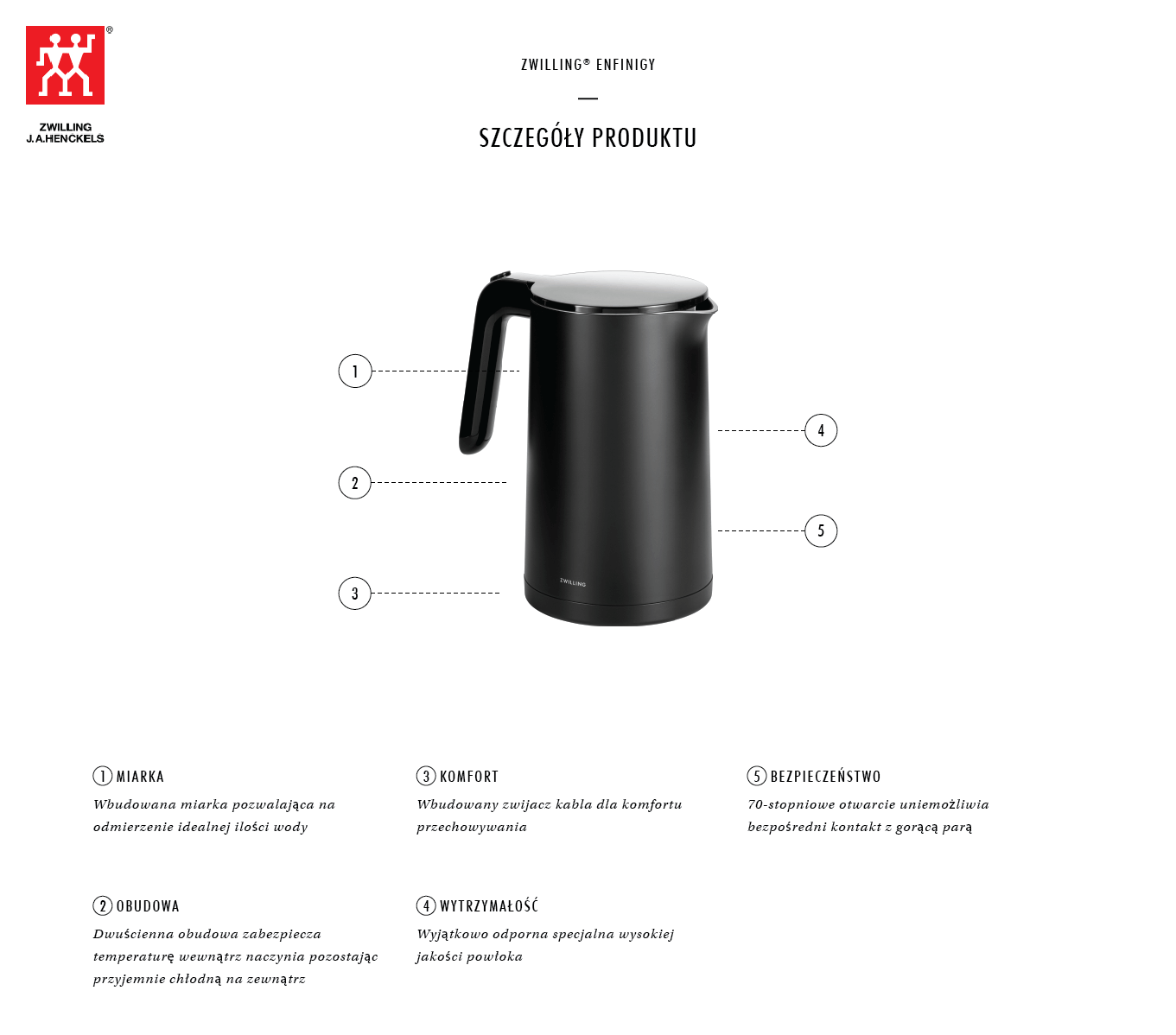 Dlaczego warto kupić czajnik elektryczny Zwilling Enfinigy?