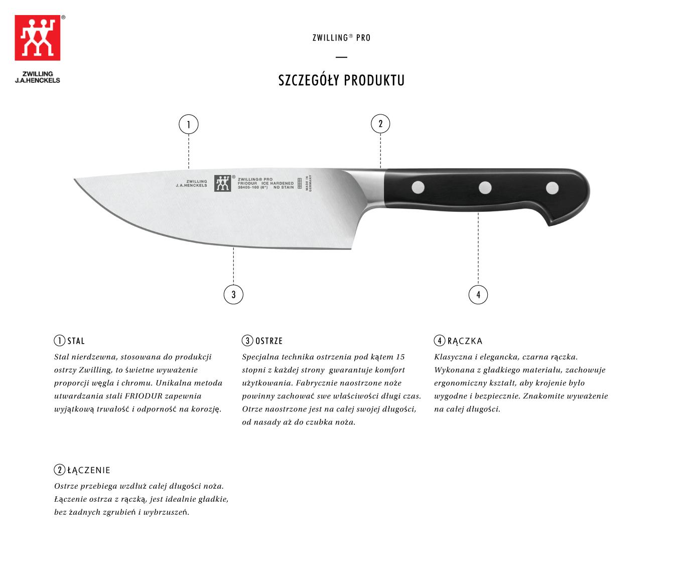 Nóż Szefa Kuchni Z Szerokim Ostrzem Zwilling Pro